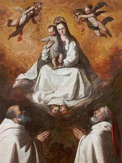 Coll.privata F.Zurbaran Mad.Mercede+S.PietroNolasco+S.RaimondoNonnato 1635-40.jpg