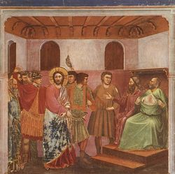 Giotto - Scrovegni - -32- - Christ before Caiaphas.jpg