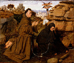 San Francesco e fra Leone. 1395 - 1441 - Saint Francis of Assisi Receiving the Stigmata - Google Art Project.jpg