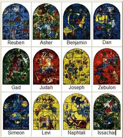 ISR Gerusalemme SingogaOspedaleHadassah M.Chagall Vetrate 12tribùIsraele 1962.jpg