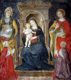 375px-Antoniazzo Romano fresco - Madonna with child and saints.jpg